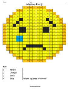 Crying Emoji- Subtraction Coloring coloring activity