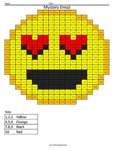 Love Emoji- Subtraction Coloring coloring activity