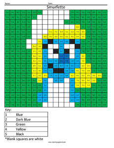 Smurfette- Practice Addition Cartoon Coloring
