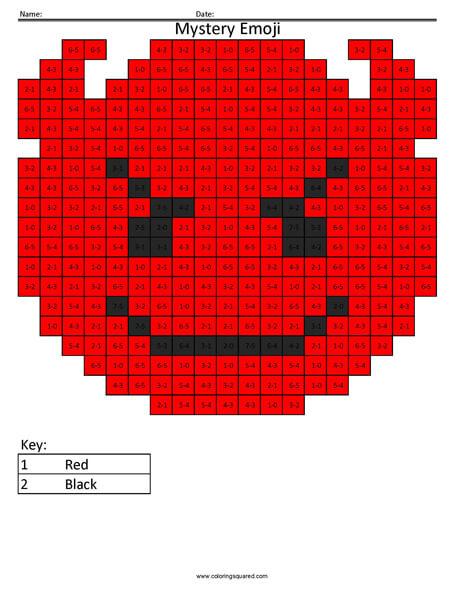 Devil Emoji- Subtraction Coloring coloring activity