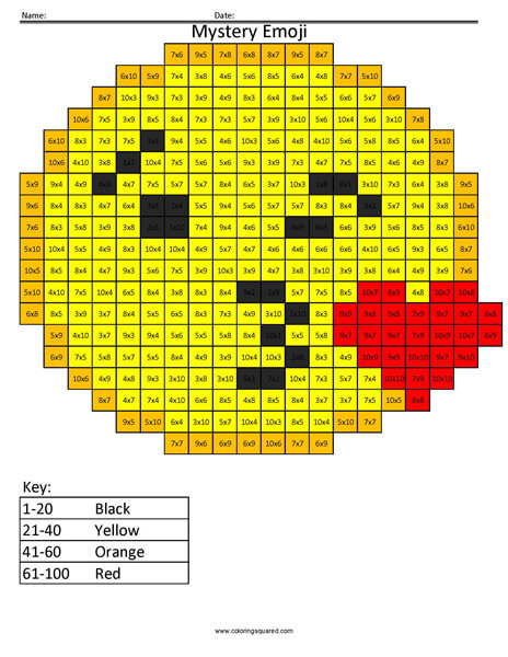 Kissing Emoji- Multiplication Coloring coloring activity