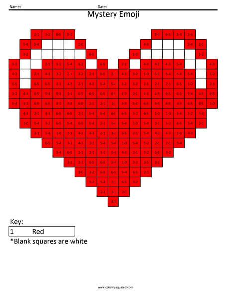 Heart Emoji- Subtraction Coloring coloring activity
