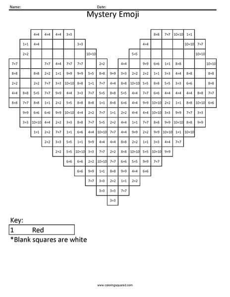 Heart Emoji- Division Coloring - Coloring Squared