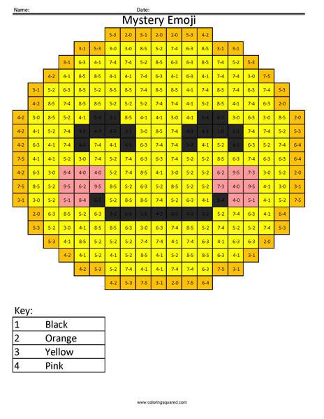 Blush Emoji- Subtraction Coloring activity