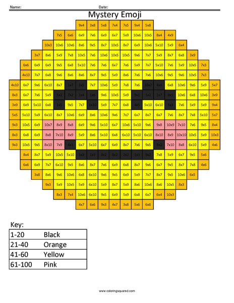 Blush Emoji- Multiplication Coloring coloring activity