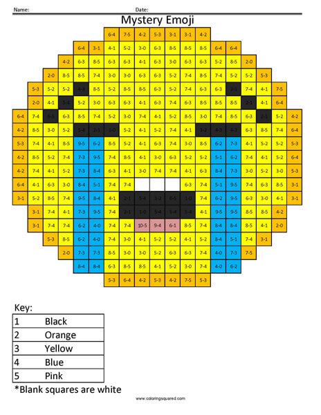 Sob Emoji- Subtraction Coloring coloring activity
