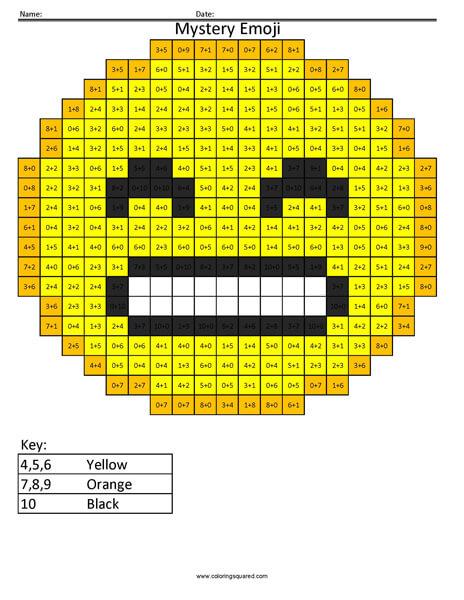 Grin Emoji- Addition Coloring coloring activity