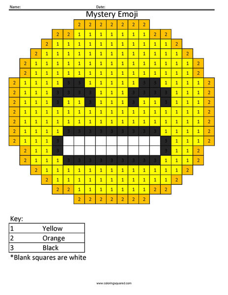 Grin Emoji- Color by Number coloring activity