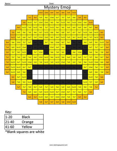 Grin Emoji- Multiplication Coloring coloring activity