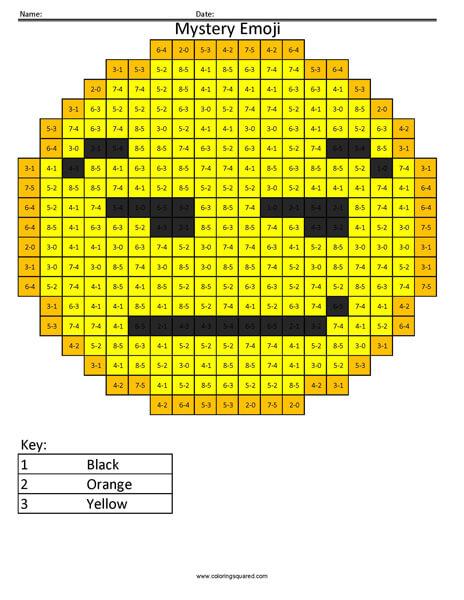 Smirk Emoji- Subtraction Coloring coloring activity