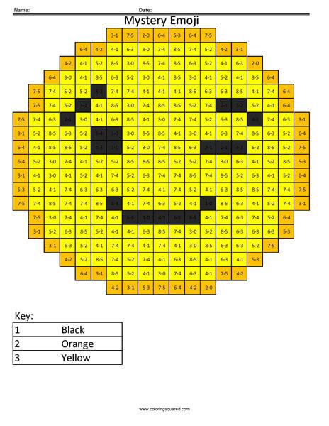 Wink Emoji- Subtraction Coloring coloring activity