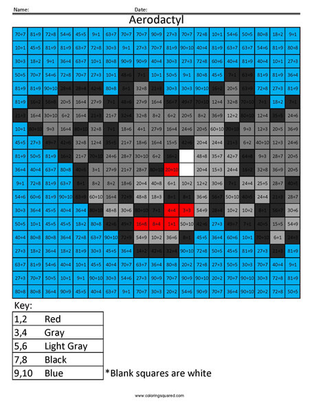 Pokemon Multiplication and Division - Coloring Squared