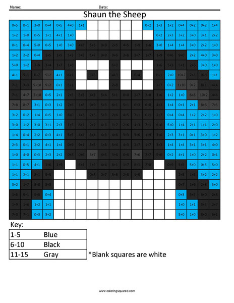 Shaun the Sheep- Practice Addition Coloring
