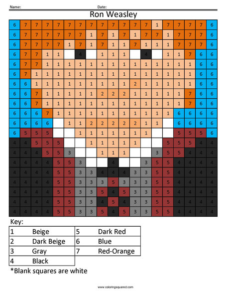 Ron Weasley- Color by Number Harry Potter Coloring