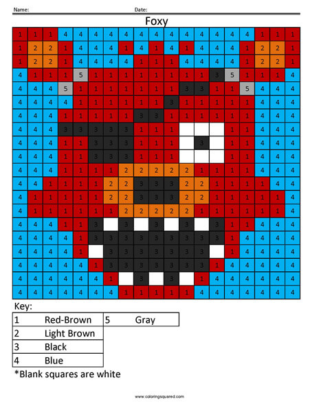 FNAF Foxy Color by Number coloring activity