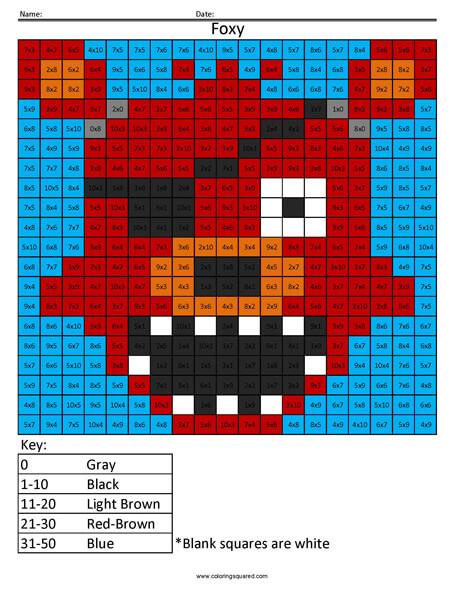 FNAF Foxy Multiplication coloring activity
