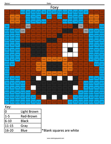 FNAF Foxy Addition coloring activity