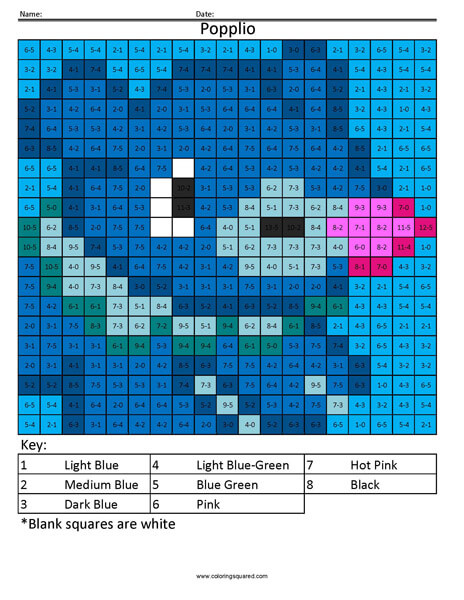 Popplio Subtraction - Coloring Squared