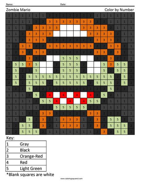 Halloween Super Mario Coloring Page Minecraft