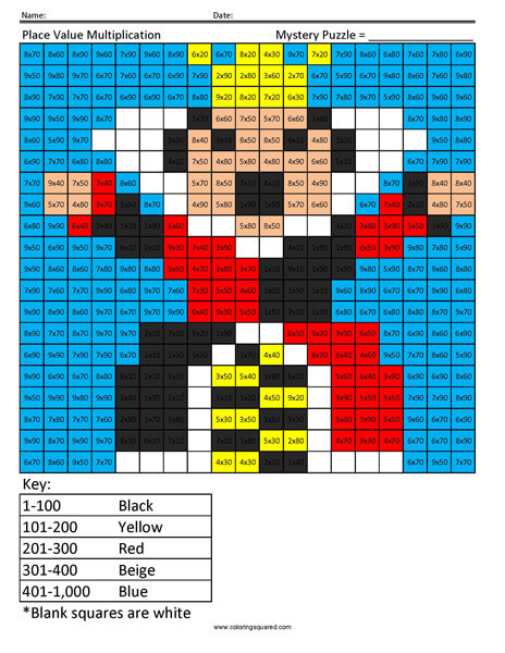 Queen of Hearts- Multiplying with Tens Disney coloring math