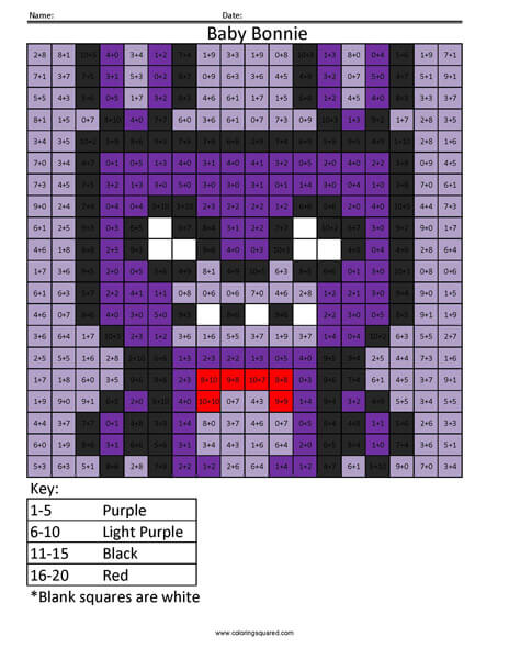 Baby Bonnie Addition Five Nights at Freddy's Coloring Page