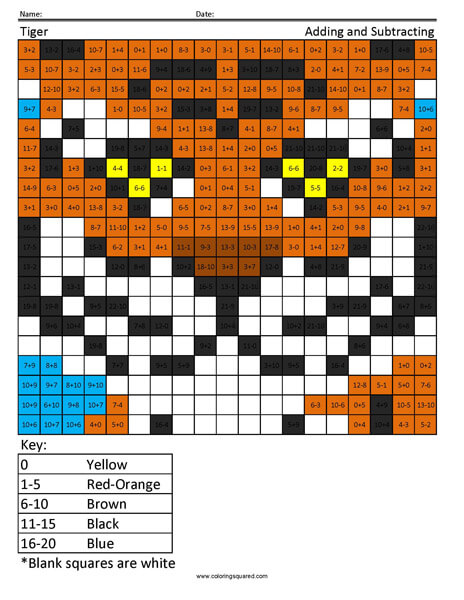 Free Tiger adding and subtracting coloring page
