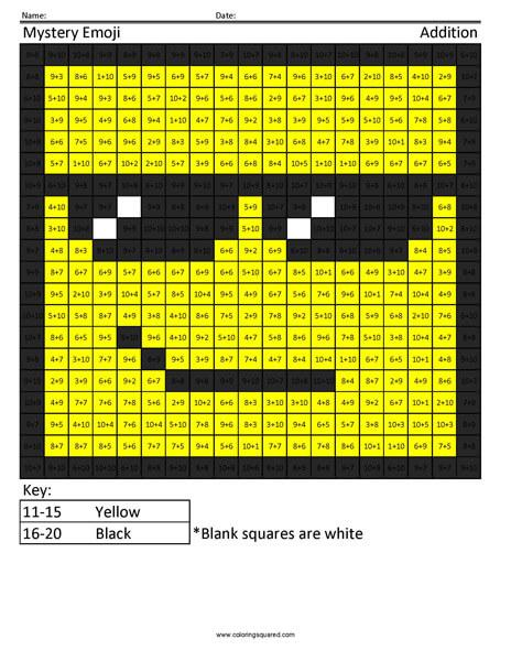 Square Sunglasses- Emoji Addition Coloring coloring activity