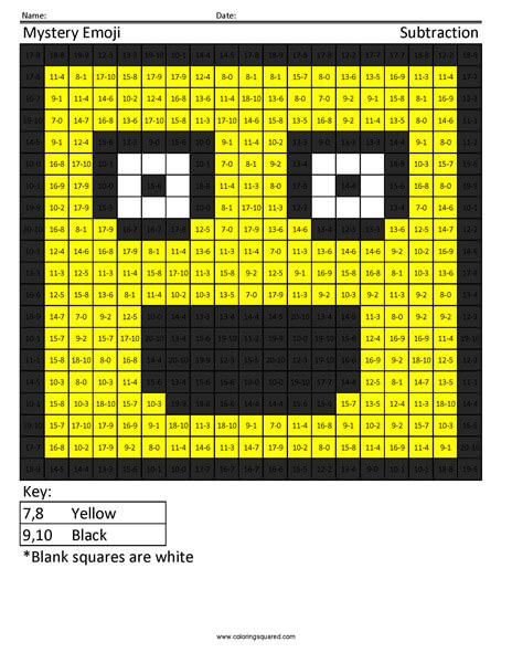 Square Sunglasses Emoji Subtraction Coloring Activity