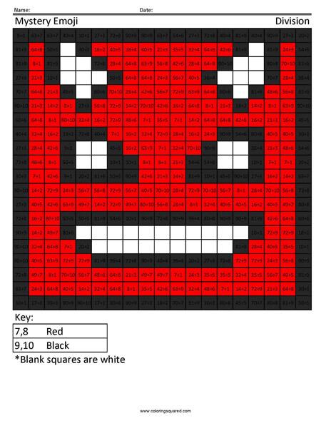 Square Emoji Devil Division Coloring activity