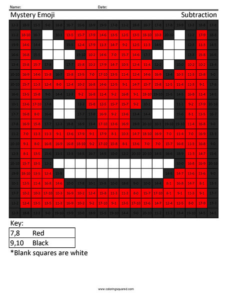Square Emoji- Devil Subtraction coloring activity