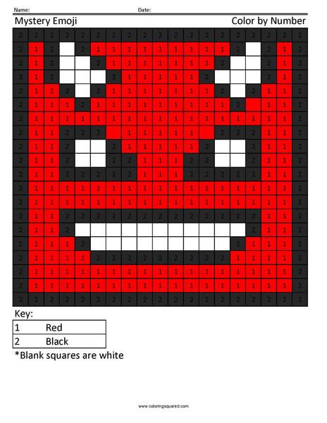 Square Emoji Coloring Page- Devil
