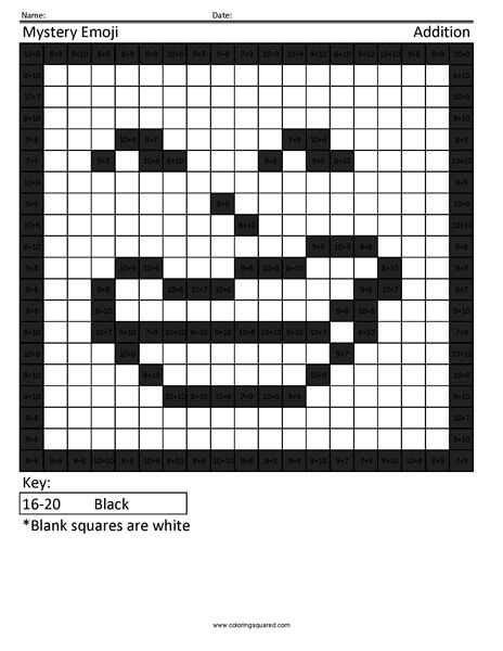 Square Emoji- Troll Addition Coloring coloring activity