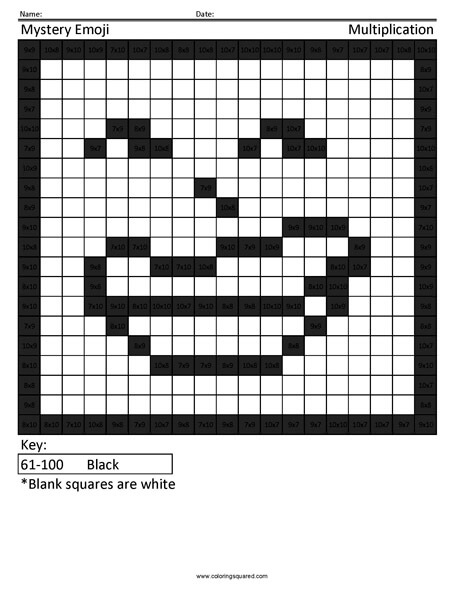 Square Emoji- Troll Multiplication coloring activity