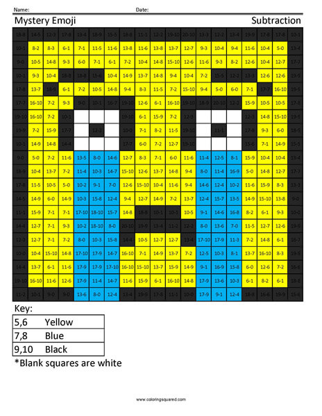 Square Emoji- Crying Subtraction coloring activity