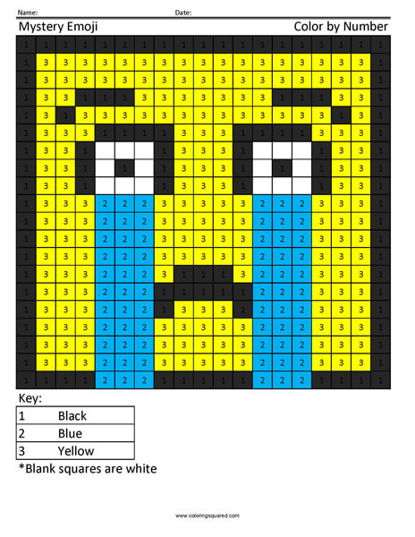 Square Emoji Coloring Page- Crying