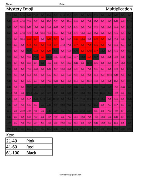 Square Emoji- Love Multiplication coloring activity