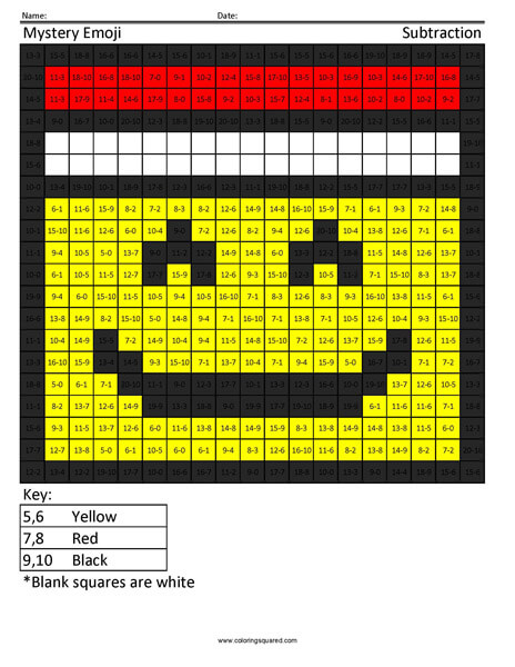 Square Emoji Santa Subtraction Coloring Activity