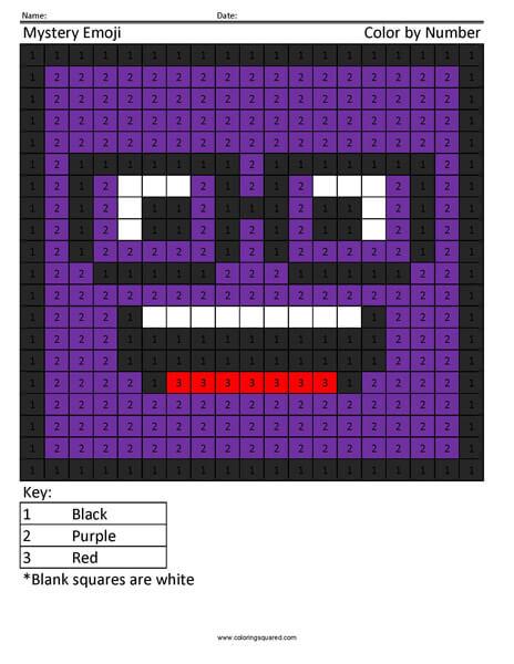 Square Emoji Coloring Page- Glasses