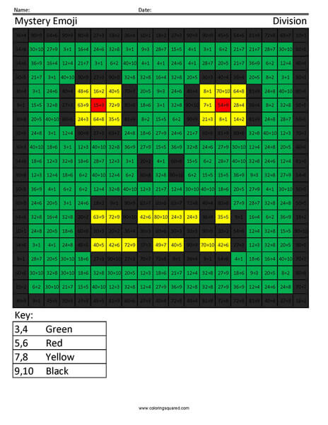 Square Emoji Zombie Division Coloring activity