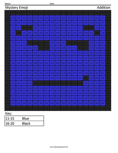 Square Emoji- Smirk Addition Coloring coloring activity