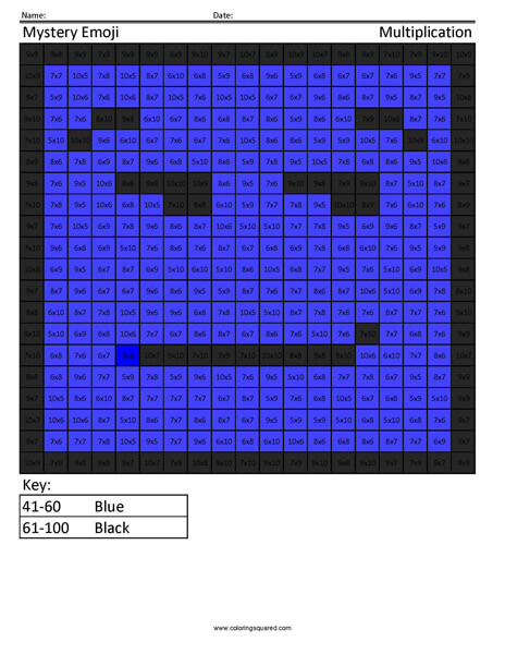 Square Emoji- Smirk Multiplication coloring activity