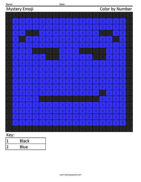 Square Emoji Coloring Page- Smirk
