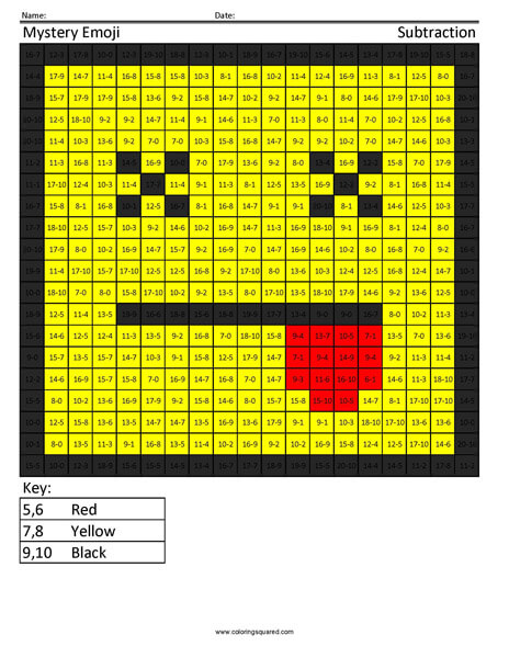 Square Emoji Dead Subtraction Coloring Activity