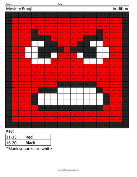 Square Emoji- Angry Addition Coloring coloring activity