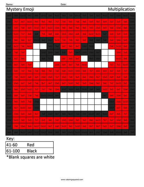 Square Emoji- Angry Multiplication coloring activity