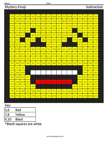 Square Emoji- Laughing Subtraction coloring activity