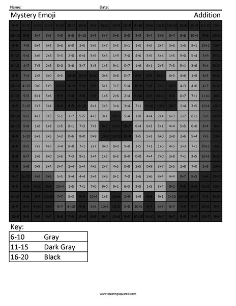 Square Emoji- Skull Addition Coloring coloring activity