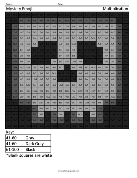 Square Emoji- Skull Multiplication coloring activity