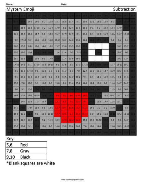 Square Emoji- Ghost Subtraction coloring activity