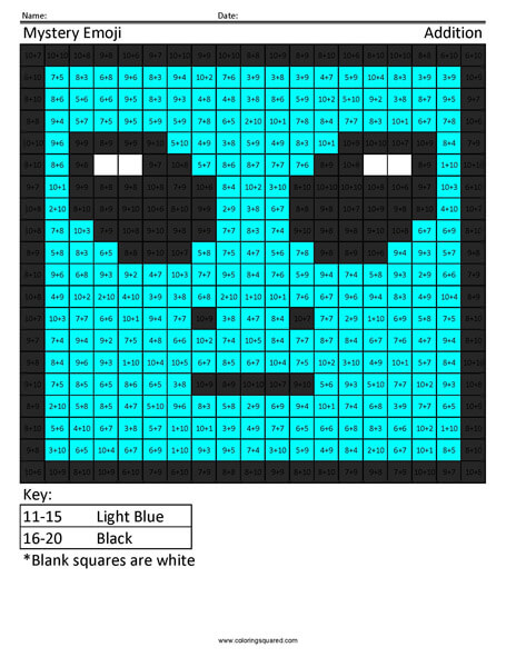 Square Emoji- Alien Addition Coloring coloring activity